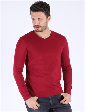 Erkek Fittied fit Sweat shırt Esw 1161 BORDO